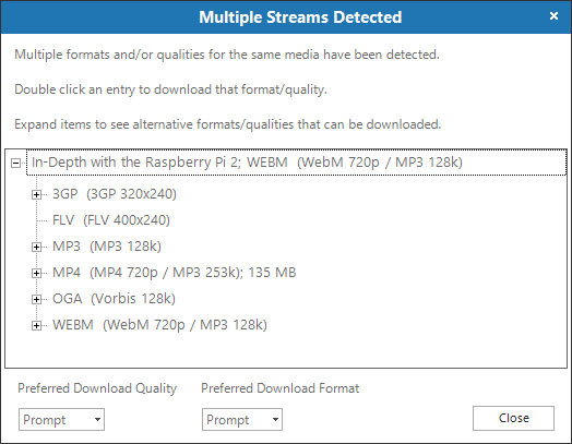 Multiple Streams download option