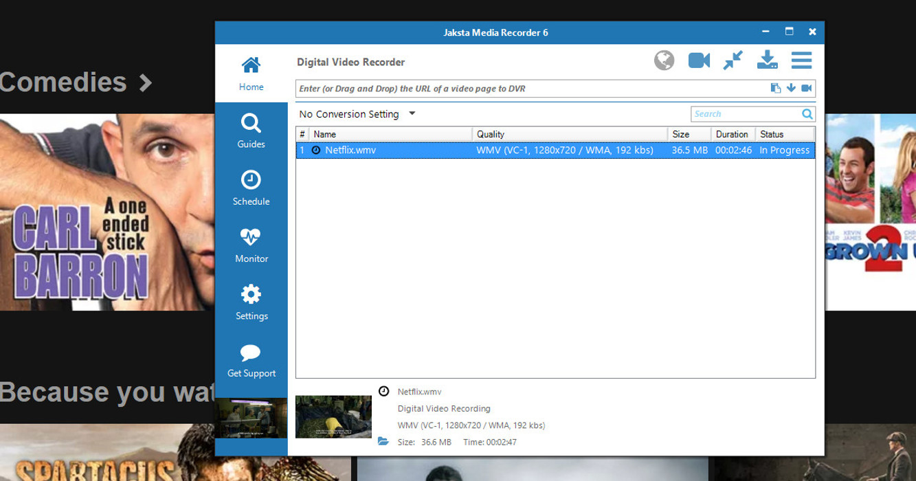 Picture of Jaksta Media Recorder digital video recording from sharepoint-videos.com