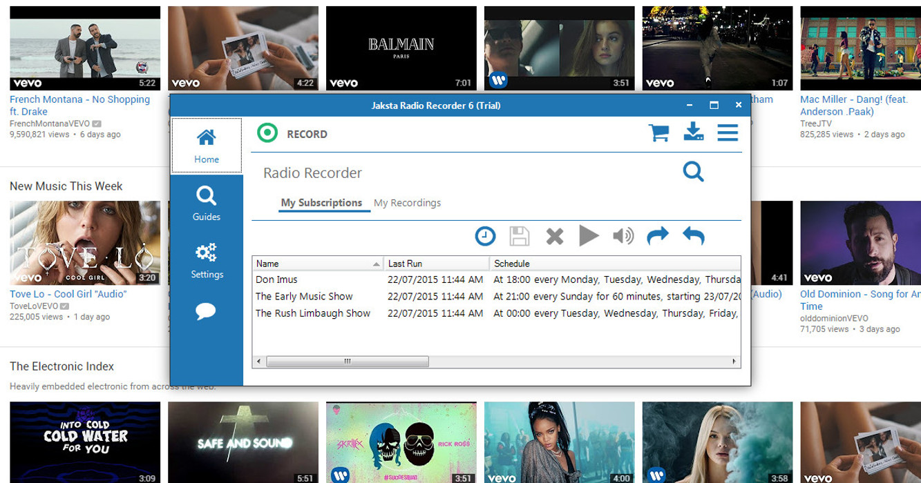 Picture of Jaksta Radio Recorder recording from musicchoice.com